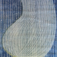 """Resting, woodcut print on Japanese paper, 65""""x28"""""""