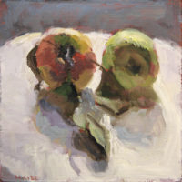 """Two Apples, oil on board, 6""""x6"""""""
