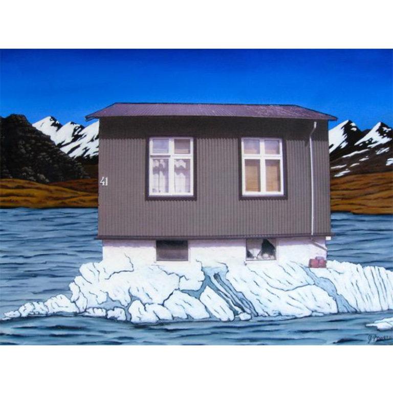 Iceland Grey House in Glacial Lagoon, Jokulsarlon