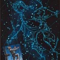 """Climbing to Andromeda, acrylic on panel, 24""""x18"""""""