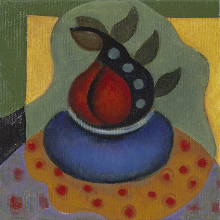 Two Red Pears in Blue Bowl