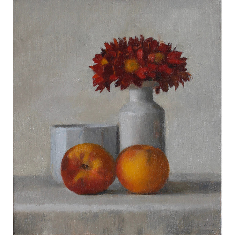 Red Daisies and Peaches #8940