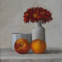 "Red Daisies and Peaches #8940, oil on linen, 9""x8"""