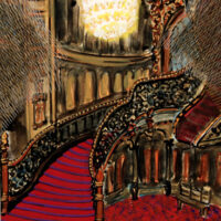 """""""Stairway"""" from Cosmic Theater 13-H-18, mixed media on paper, 10""""x7"""""""