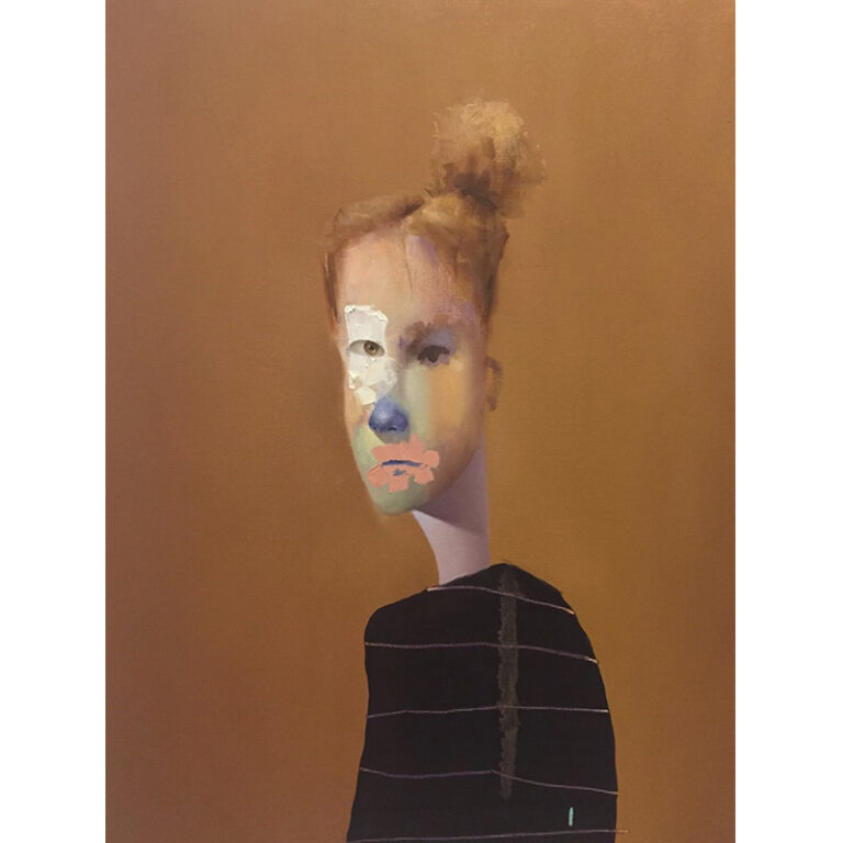 Ed Valentine: Untitled Portrait with Drips and Brown Painted Eye