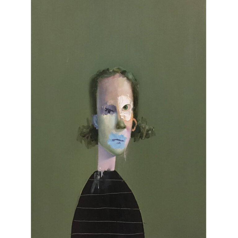 Ed Valentine: Untitled Portrait with Yellow-Green Painted Nose and Blue Drip
