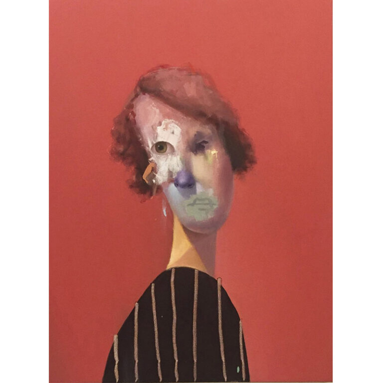 Ed Valentine: Untitled Portrait with Vertical Lines and Drip