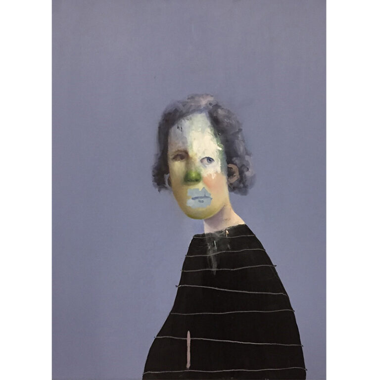 Ed Valentine: Untitled Portrait with Drips, Scratches and Yellow-Green Painted Nose