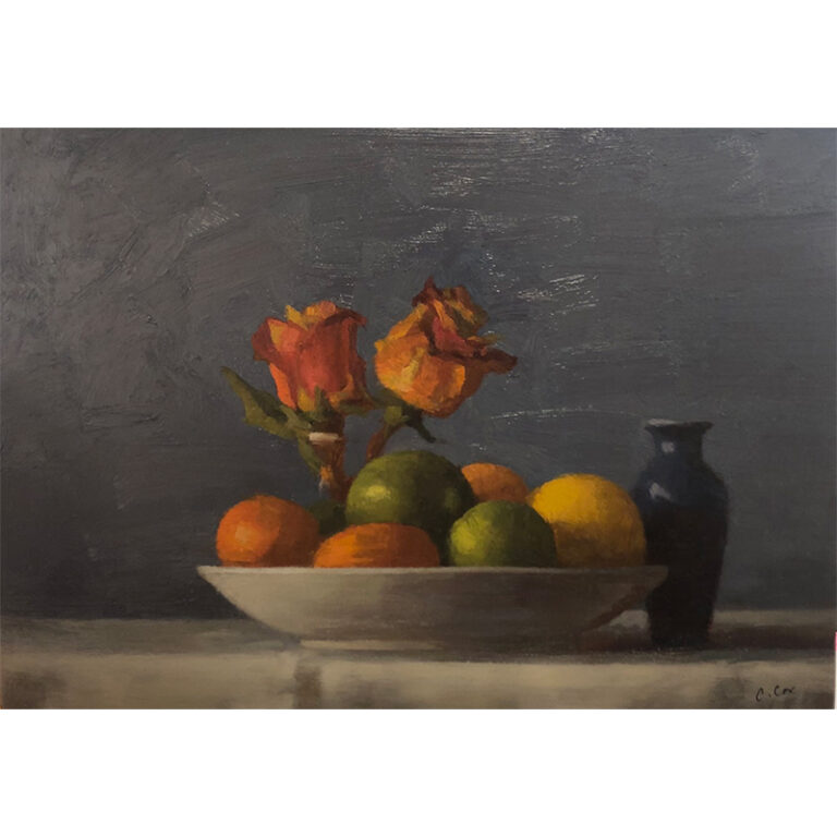 Still Life with Orange Roses and Blue Vessel