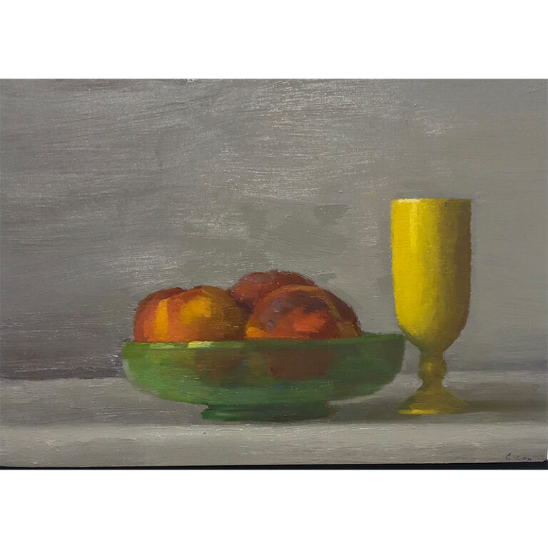 Peaches in Green Glass Bowl with Yellow Vessel