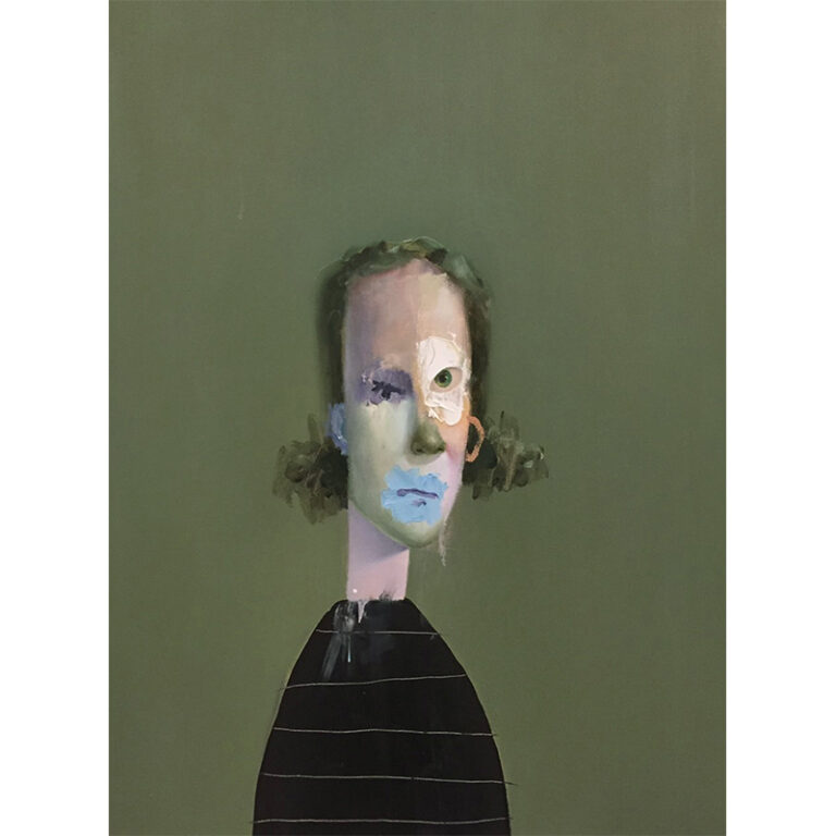 Untitled Portrait with Yellow-Green Painted Nose and Blue Drip