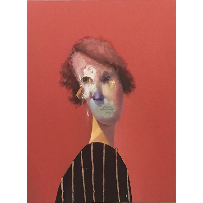 Untitled Portrait with Vertical Lines and Drip