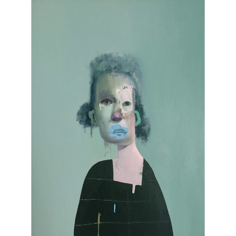 Untitled Portrait with Four Stripes and Green Painted Ear
