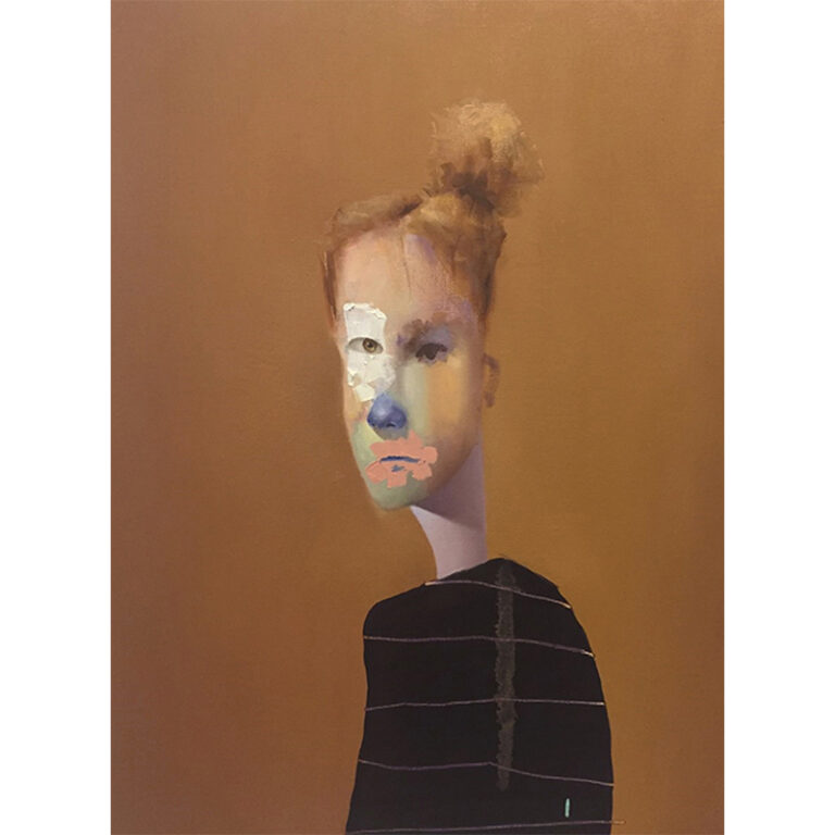 Untitled Portrait with Drips and Brown Painted Eye