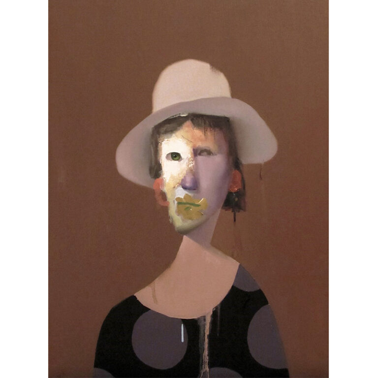 Untitled Portrait with Blue Drip and Painted Hat